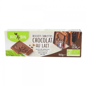 Biscuits tablette chocolat au lait BIO paquet 150g CARTON DE 12 UVC