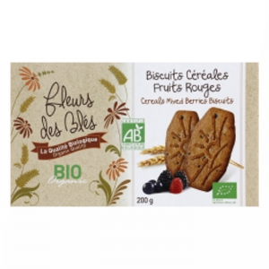 Biscuit petit dej BIO  fruits rouges paquet 200g CARTON DE 12 UVC