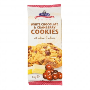 Cookies chocolat blanc & cranberries paquet 200g CT 12 PQT