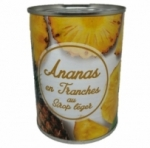 Ananas tranches au sirop léger<br>boîte pne 340g
