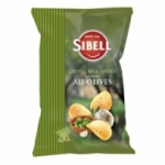 Chips ondulées ail & olives paquet 120g Sibell<br>