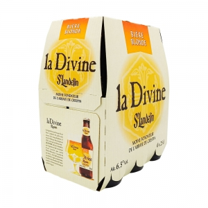 Bière blonde La Divine St Landelin pack 6x25cl  Ct de 4 Packs de 6